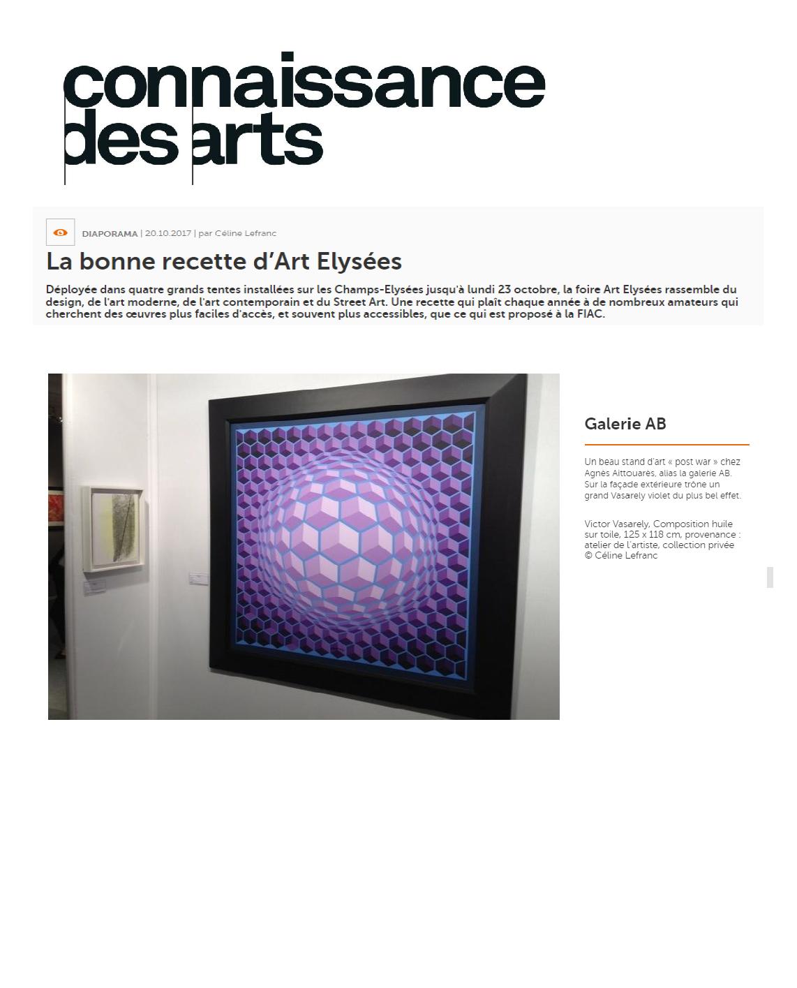 2017 AE Revue de Presse Connaissance des Arts Art Elysées 2017 Galerie AB Paris