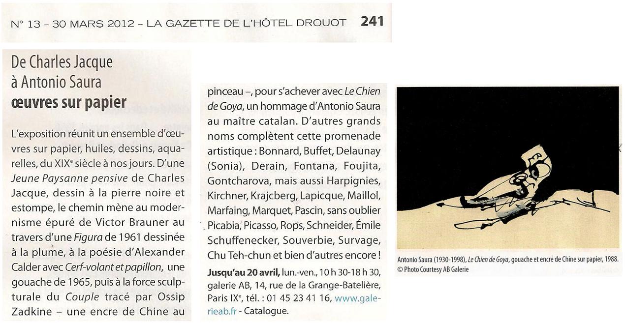 Gazette Drouot 2012 Galerie AB Paris