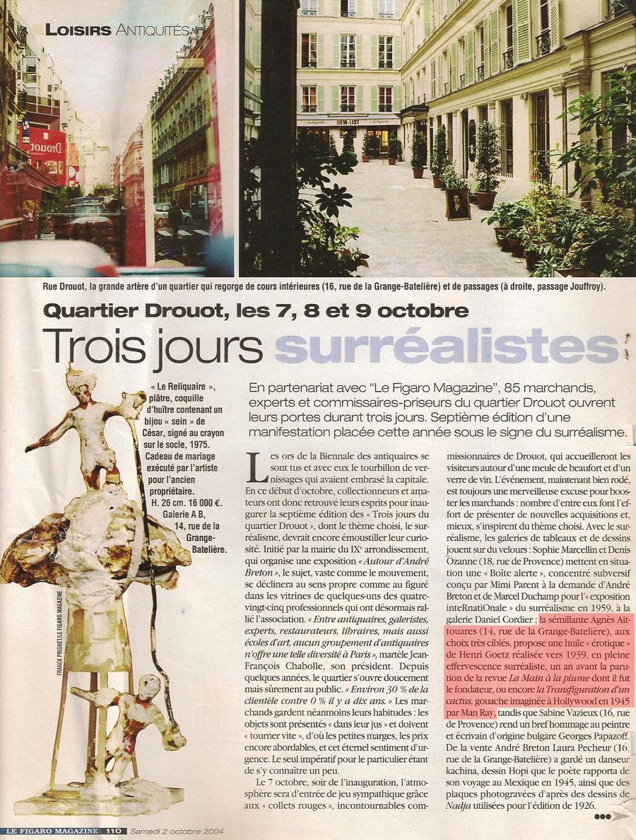 Le Figaro magazine 2004 Galerie AB Paris