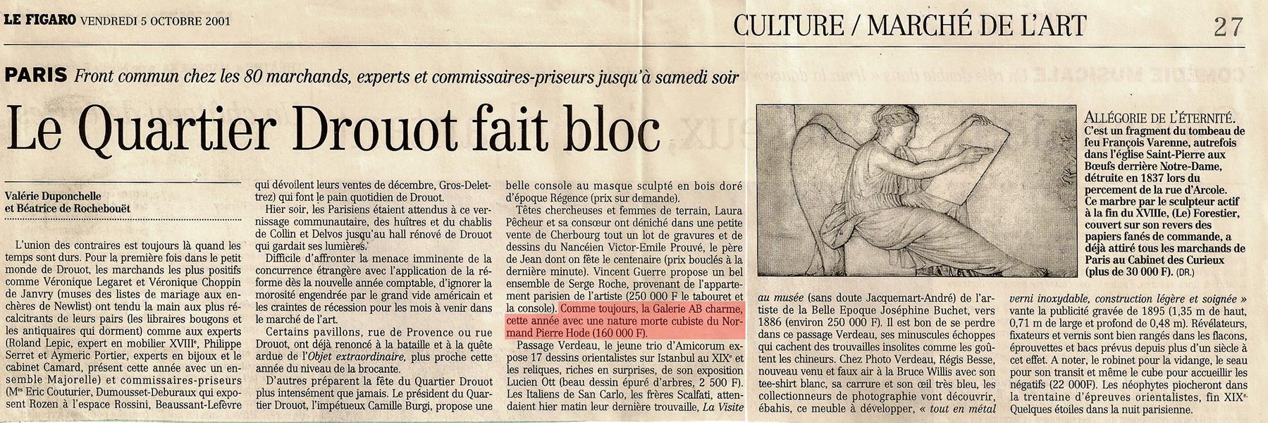 le figaro 2001 Galerie AB Paris