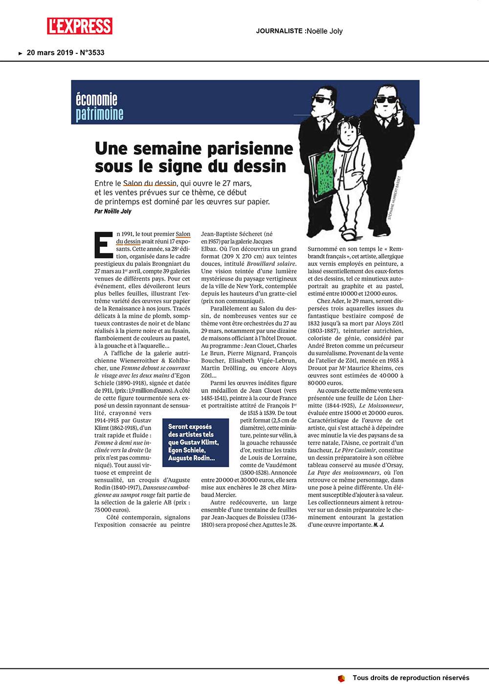 L'express---Salon-du-dessin-2019-Galerie-AB-Paris