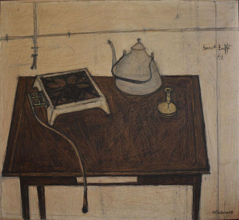 Bernard-Buffet-Nature-morte-à-la-Bouilloire-Galerie-AB-Paris-expertises-d'oeuvres-d'arts-et-estimations-de-tableaux