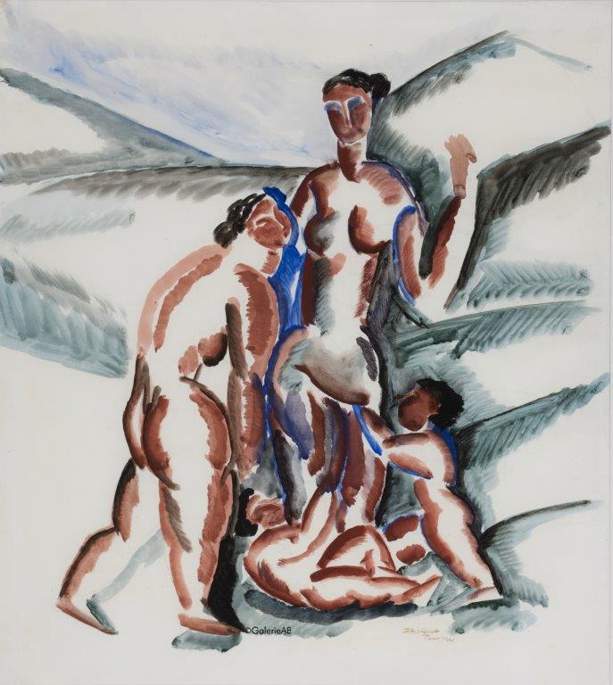 ZADKINE---Femmes-et-enfants-Gouache-sur-papier-1920-56-x-50-cm